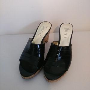 Nickels Platform Wedge Sandals Black & Cork 7M
